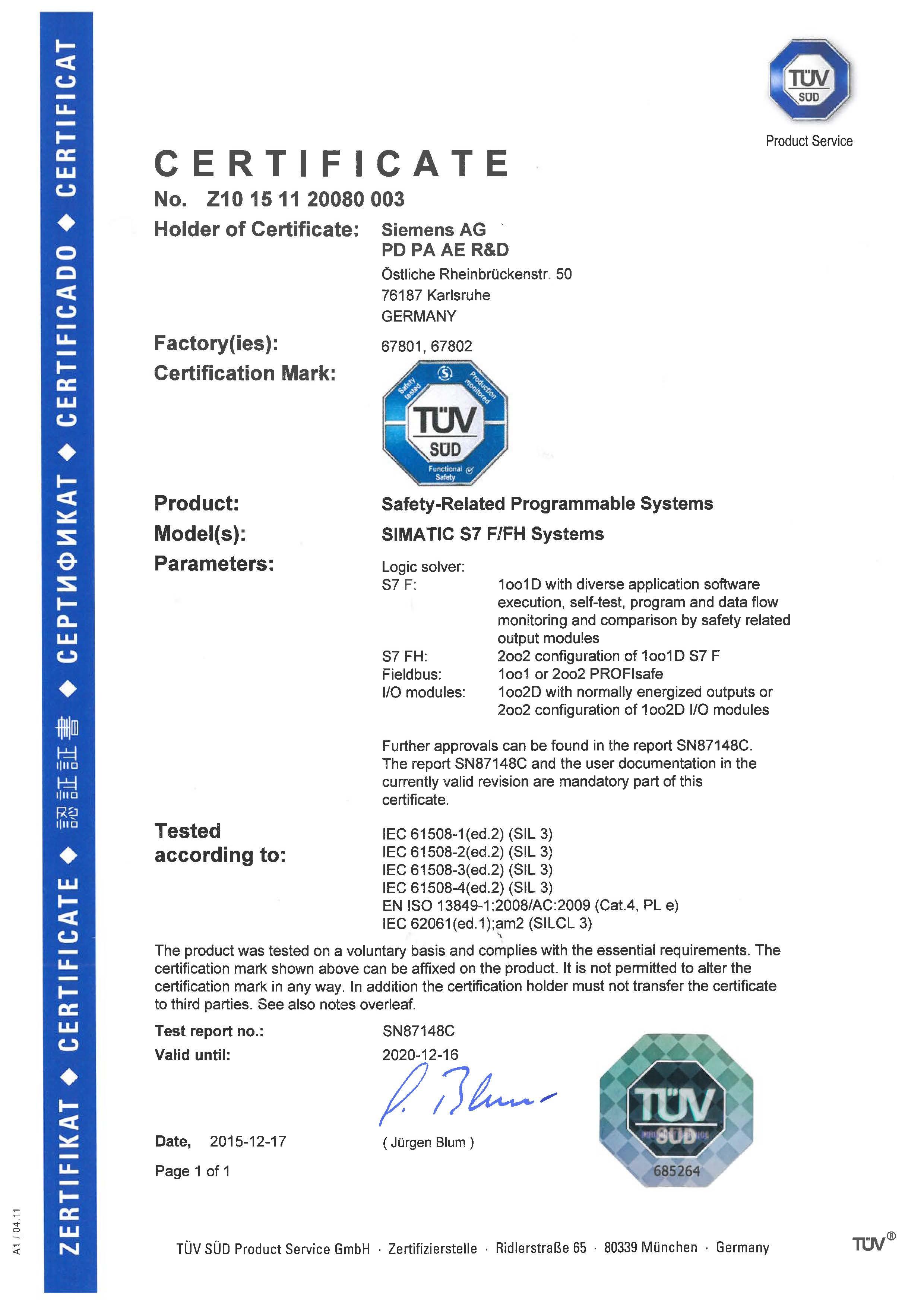 Сертификат функциональной безопасности отказобезопасных программируемых систем (SIL3)